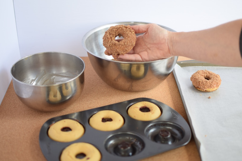 Baked Donuts dipped in Cinnamon Crumb